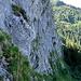 Tiefblick über die untere Hälfte der 1. Seillänge, darüber rechts das Trassee der Zahnradbahn zu den Rochers-de-Naye