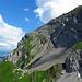 Foto aus der Luftseilbahn heraus abgelichtet, Blick hinüber zur Chammhaldenroute