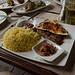 Mein Hauptgang - Felischspieß, Reis und einer arabisch gewürzten Soße.