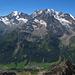 Von links Portjengrat, Weissmies, Lagginhorn, Fletschhorn, im Tal Simplon