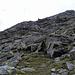 Aufstieg auf den Pizzo Taneda über den Nordwestgrat, wo Blockwerk vorherrscht