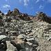 Rückblick auf den steinigen Bergweg