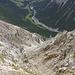 Passage der einzigen etwas schmaleren Stelle auf dem Kamm zur Cima del Serraglio