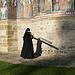 """Rumänien, Kloster in Bucovina, None während des """"Toaca""""-Schlagens <br /><br />Neben den Glocken, hat die """"Toaca"""" (ein Holzbrett) ein sehr wichtigen Platz  in der orthodoxen Liturgie. Hier wird es """"geschlagen"""" (mit einem kleinen Holzhammer können verschiedene Töne und Rhytmen erzeugt werden) um zu signalisieren, dass  die Sonntagsliturgie gerade anfängt."""