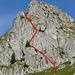Routenverlauf für Edu: 1. Diagonalband zur mittleren Tannengruppe, 2. Diagonalband zur Grassterrasse in der Wandmitte, 3. Diagonalband zum markanten Sattel, zuoberst der Ausstieg hinter dem kompakten SE-Pfeiler