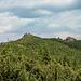 Die Gipfel kommen erstmals nach dem Waldstück in den Blick. Jetzt aber noch ca. 100 m links halten, nicht direkt drauf zu gehen.