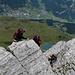 Im Abstieg über den Klettersteig zum südlichen Sattel des Graustockes.