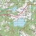 Meine Route von der Busstation in Vestiena zum höchsten Letten Gaiziņkalns (311,5m).
