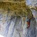 Blick vom Stand in die Kletterei unter dem Riesendach (6a)