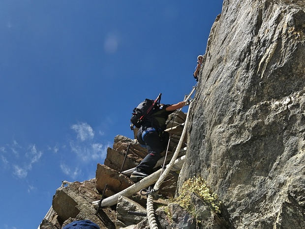 the ferrata section towards Gnifetti