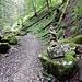ein kunstvoller Steinmann weist den Weiterweg schluchteinwärts ins üppige Grün