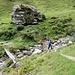 ... doch muss man bis zum Felsen auf ca. 1430 m hinunter wandern, und dort erst den Bach überschreiten; hier ist auch eine Umleitungstafel aufgestellt
