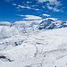 Gigantisch wirkt die wenig steile Ebene im Bereich vom Furgggletscher und Theodulgletscher. Die Gletscher selber sind ein gutes Stück zurückgeschmolzen.
