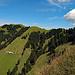 jetzt bin ich am Anfang vom Nusshaldensattel, von hier gehe ich zur Alphütte und Alpchäserei Kleinbetten hinunter.