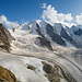 Blick vom Piz Trovat. Ganz links im Vordergrund ein Drahtseil vom Klettersteig.
