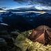 Perfekter Biwakplatz direkt am Gipfel - besser gehts nicht