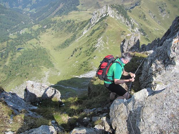 Seilversicherte Stellen im Gipfelbereich
