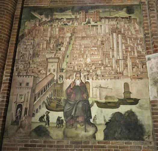 Affresco in San Teodoro, attribuito a Bernardino Lanzani, illustrante Pavia nel XVI secolo.