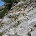 Sieht aus wie in einem Klettersteig mit einer Steilwand. Nur: Der Weg führt eigentlich nicht über diese Wand. Der Weg verläuft beim obersten Tritt (etwa mitte Bild) auf normalem Wanderweg rechts weg.