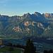 Panorma, Berghotel Schönhalden und die Churfirsten und die Alvierkette in der Abendsonne