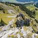 Blick vom Kreuz aus zum Brunnistöckli Klettersteig, wo mittlerweile einiges los ist.