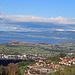 Aussicht hinüber nach Österreich zur Stadt Bregenz und Lindau, Deutschland