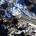 im Abstieg kann man die Steilheit der Aufstiegsrinne gut erkennen