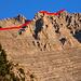 Der oberste Teil der Route zw. Skala (2866m) links außerhalb des Bildes und dem höchsten Olympgipfel, Mytikas (2918m).