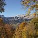 Und schliesslich öffnet sich der Blick durch herbstliche Wälder auf Bös Fulen und Glärnisch.