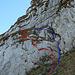 die blaue Linie ist der Normalweg dem Seil entlang, die rote Linie ist mein Weg, - übungshalber wähle ich bei solchen Kletterstellen meist meinen eigenen Weg.