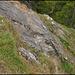 Die oft erwähnte Platte unterhalb des Zahn Ostgipfels von oben. Ein kleiner Schritt für einen Bergsteiger, ... halb so wild.