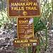 Einzige Wegkreuzung auf dem 17km langen Wanderweg entlang des Na Pali, des Kalalau Trail. Hier sind wir zum Wasserfall hochgelaufen (keine Bewilligung notwendig), weiter dem Kalalau Trail entlang braucht es eine Bewilligung, welche Monate im Voraus gelöst werden muss, der NP lässt nur 60 Personen pro Tag bis Kalalau.