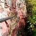Die Füße stehen in einem waagrechten Riss, mit den Händen hält man sich besser im Fels, denn das Seil hängt schön locker durch und wehrt sich damit gegen die Benutzung.<br />