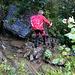 ... doch bereits der - nasse, schlüpfrige - Übergang über den Glattbach erfordert Konzentration