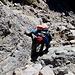 Im Aufstieg vom Refuge de l'Erco zum Monte Cinto - Rückblick in einem kurzen Kraxelabschnitt.