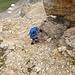 Um dem Gipfel zu erreichen muss eine steile aber kurze Rinne durchklettert werden.