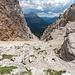 An der Forcella del Pomagagnon, mit Blick auf unseren Abstiegsweg.