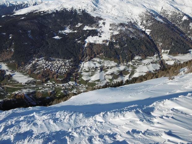 Blick ins Naviser Tal, von dem aus ich am Vortag eine Skitour gemacht hatte.