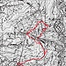 La traccia GPS proiettata sulla vecchia carta IGM. Da notare che la quota 1020 è errata e che l'attraversamento della canale della Colmetta è avvenuto molto più a monte rispetto al sentiero tracciato sulla mappa.
