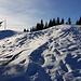 Nordseitig liegt schon noch gut Schnee, hier am Mittleren Hörnle