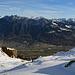 Weitblick hinunter zum Berghaus Malbun und dem Rheintal