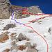 """die rote Linie war mein Aufstieg und die blaue Line der Abstieg über die """"Schlüsselstelle"""".- das Gelände ist steiler als auf dem Foto erkennbar."""
