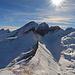 Aussicht vom Margelchopf auf Alvier und die Fulfirste im Gegenlicht