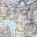 Cartina della zona dove, in alto, si notano il Ghiacciaio del Suretta e l'omonimo bivacco. Il percorso invernale rispetto al percorso estivo per salire al ghiacciaio, sale nel vallone a sinistra.