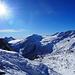 dal Passo spettacolare vista sul gruppo dell'Adamello e il Pian di Neve