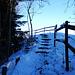 die Treppe hinauf und auf den schmalen Pfad. Rechts der Weidezaun und links der Abgrund.
