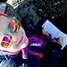 Meine Tochter am Gipfelbuch-Eintrag.