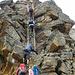 Leiter beim Zustieg zur Mischabelhütte