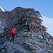 Aufstieg über den Grat zum Anseilplatz beim Hohbalmgletscher