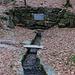 Die Saalequelle unterhalb des Waldsteins mit einer Flusshöhe von ca. 5 cm. Der direkt an der Quelle gelegene Unterstand ist zum biwakkieren nicht geeignet, da Bänk fest montiert sind und keine Seite geschlossen ist, also ging es weiter zum Waldsteinhaus.